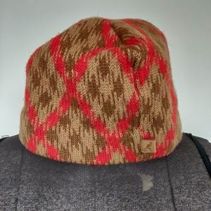 Kangol Wool Knit Argyle Pull On Hat Cap Beanie